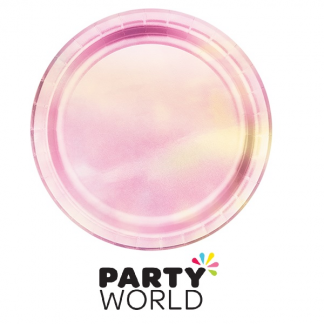 Iridescent Foil Round Dinner Paper Plates (8)