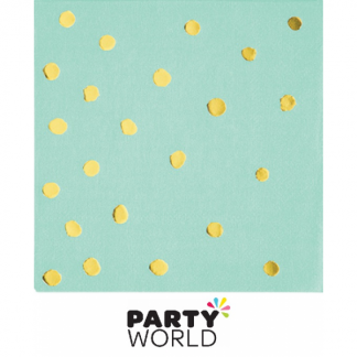 Fresh Mint Gold Dot Stamped Beverage Napkins (16)