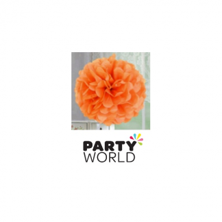 Orange Tissue Fluffy Decoration 14in