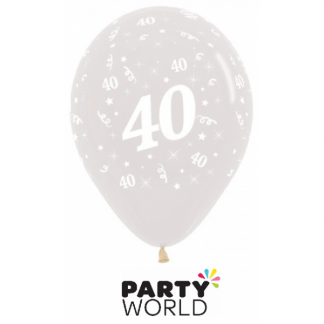 40th Birthday Crystal Clear Latex Balloons (6)