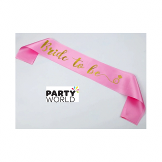 Bride to Be Sash - Foil Gold on Pink