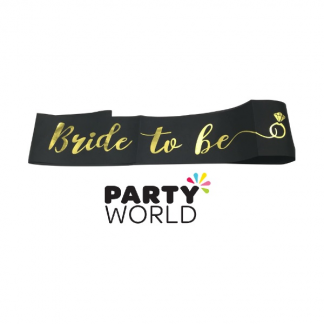 Bride to Be Sash - Foil Gold on Black