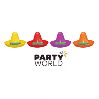 Fiesta Mini Assorted Plastic Sombreros (8)