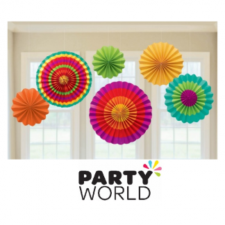 Fiesta Party Paper Fan Decorations (6)