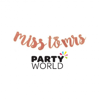 Miss To Mrs Glitter Garland Banner Rose Gold