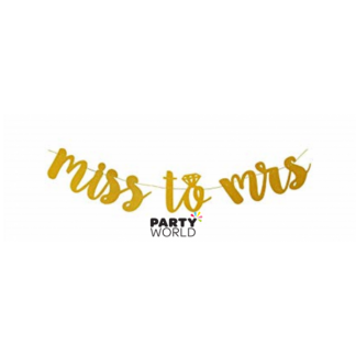 Miss To Mrs Glitter Garland Banner - Gold