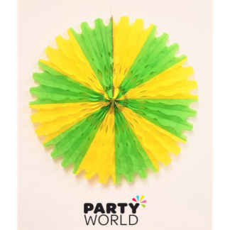 Giant Green & Yellow Decorative Paper Fan - 60 cm