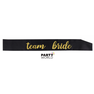 "Black ""Team Bride"" Gold on Black Sash"