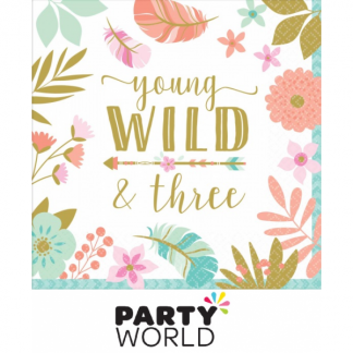 Boho Young Wild & Three Luncheon Napkins (16)