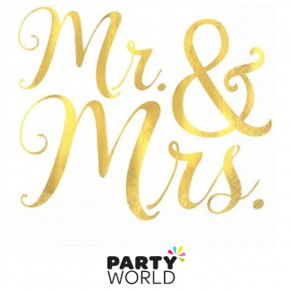 Mr & Mrs Gold Foil Stamped Beverage Napkins (16)