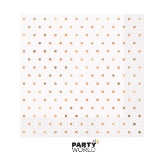 Elegant Rose Gold Foil Dots Luncheon Napkins (16)