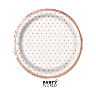 Elegant Rose Gold Foil Dots 7in Paper Plates (8)