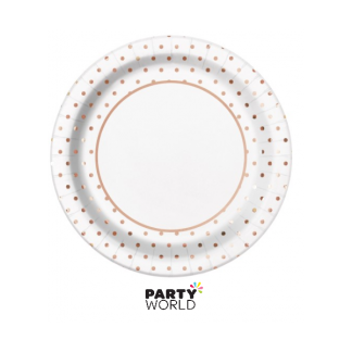 Elegant Rose Gold Foil Dots 9in Paper Plates (8)