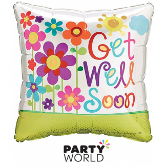 Get Well Soon Flowers Foil Balloon