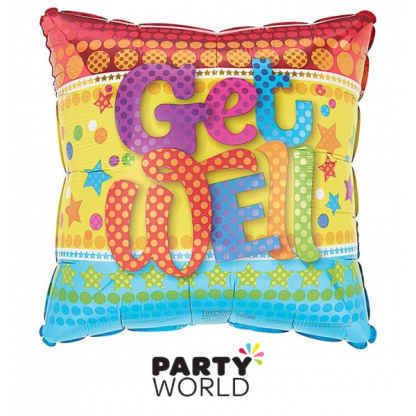 Get Well Colourful Square Foil Balloon