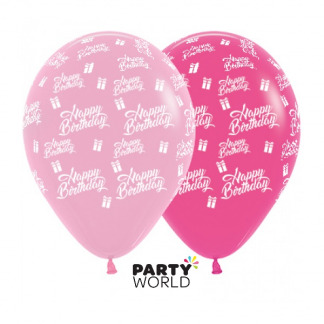 Sempertex Birthday Presents Asstd Pink Latex Balloons (25)