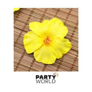 Hibiscus Flower Artificial Decorations Yellow (10)