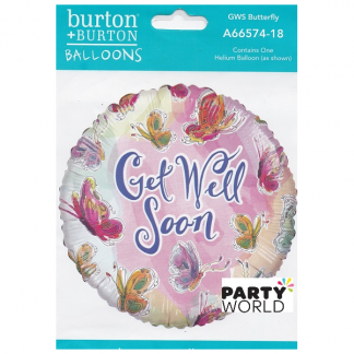 Get Well Soon Butterfly Foil 46cm Balloon