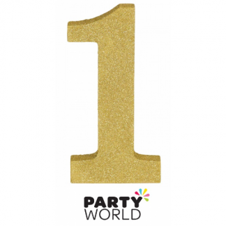 Number 1 Gold Glittered Decoration MDF