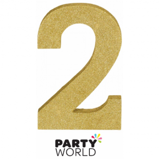 Number 2 Gold Glittered Decoration MDF