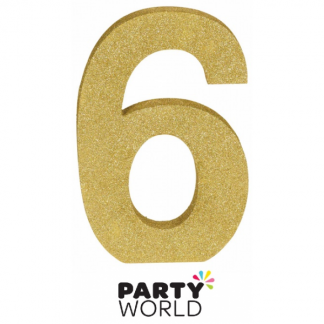 Number 6 Gold Glittered Decoration MDF