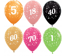 Age Latex Balloons 1-100