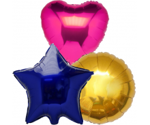 Plain & Basic Pattern Foil Balloons - Orbz, Star, Heart, etc.