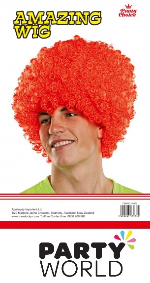 Red Men's Afro Wig