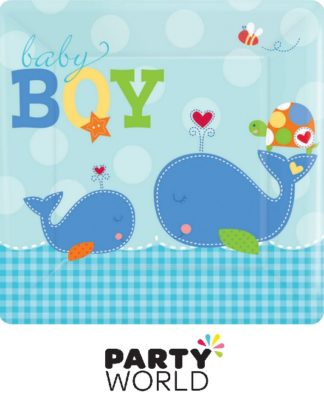 Ahoy Baby Boy 26cm Square Plates (8)
