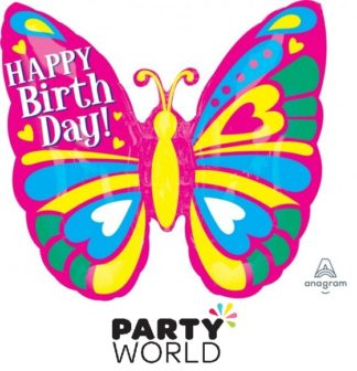 Butterfly Happy Birthday Supershape Foil Balloon