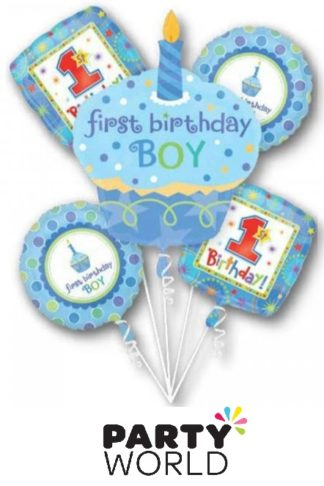 Foil Balloon Bouquet 1st Birthday Boy