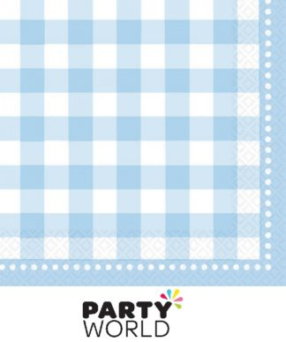 Gingham Baby Blue Lunch Napkins (16)