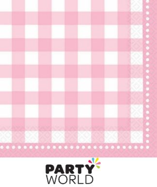 Gingham Pale Pink Lunch Napkins (16)