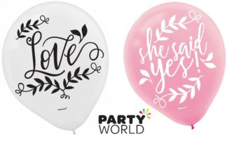 Love And Leaves 30cm Asstd Colour Latex Balloons (15)