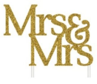 Mrs & Mrs Gold Glitter Cake Topper