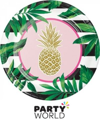 Pineapple Wedding Banquet Plates Paper & Foil Stamped (8)