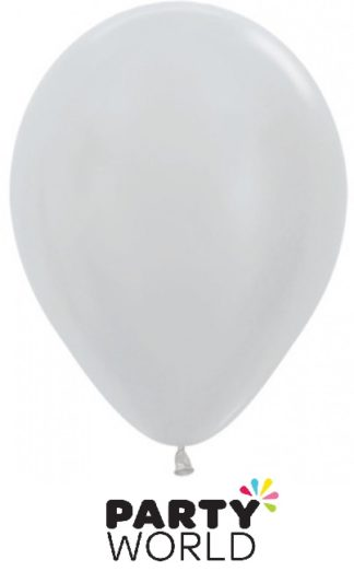 Sempertex 5in Satin Pearl Silver Latex Balloons 50PK
