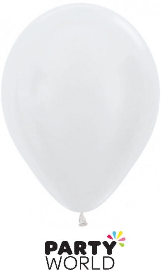 Sempertex 5in Satin Pearl White Latex Balloons 50PK