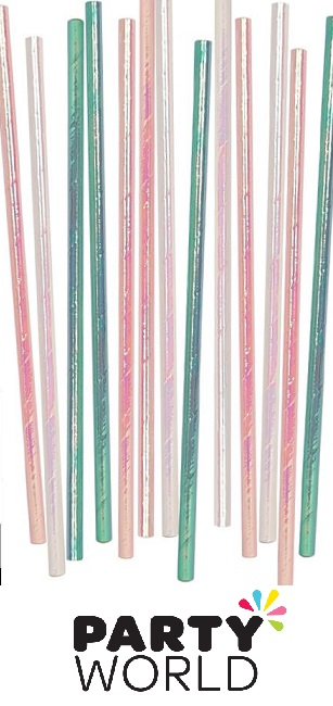 Straws - Paper Iridescent Assorted (20)