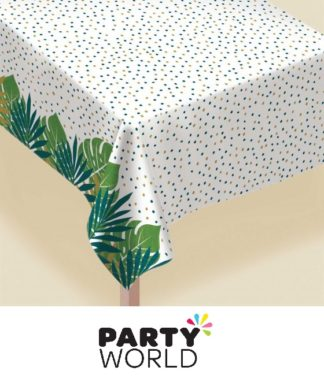 Tropical Palm Leaves Flannel Backed Vinyl Tablecover