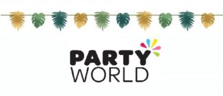 Tropical Palm Leaves Foil Ribbon Banner