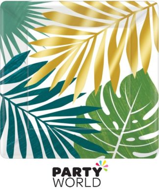 Tropical Palm Leaves Large Square Paper Plates (8)