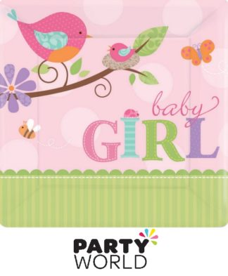 Tweet Baby Girl 17cm Square Plates (8)