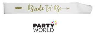 bride to be white gold sash