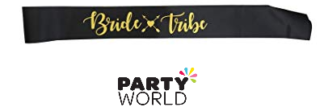 bride tribe sash black gold