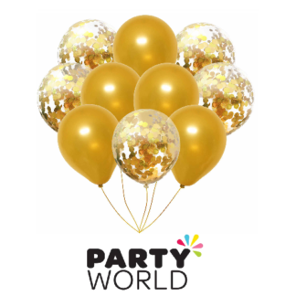 gold and gold confetti balloons