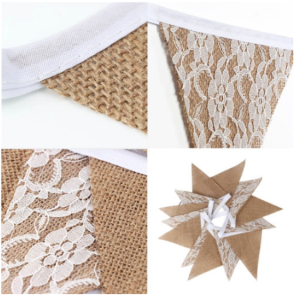 hessian lace wedding banner bunting