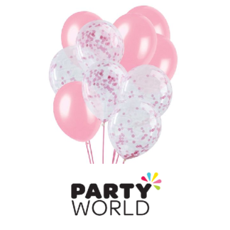 pink and pink confetti balloons