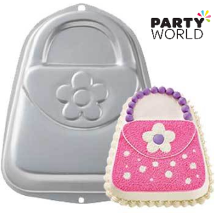 purse handbag cake tin hire