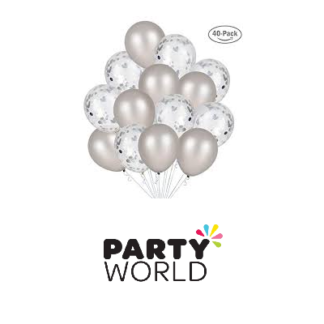 silver and silver confetti balloons